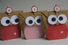 * Owl advent calendar * A real eye-catcher: 24 advent calendar bags as owls . - * Owl advent calendar * A real eye-catcher: 24 advent calendar bags styled as owls. Diy For Kids, Gifts For Kids, Christmas Time, Christmas Crafts, Diy Cadeau Noel, Best Gifts For Him, Advent Calenders, Christmas Gift Decorations, Diy Birthday