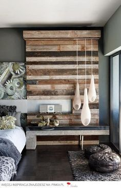♂ eco friendly Green House with rustic looking wall deco in the bedroom. Something like this would be great in the nook in our bedroom. Home Bedroom, Bedroom Decor, Bedroom Rustic, Wall Decor, Bedroom Wall, Design Bedroom, Bedrooms, Wall Lamps, Modern Bedroom