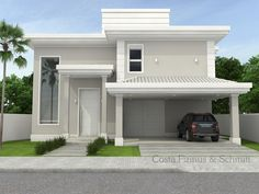 Projetos | Modern House Facades, Modern Bungalow House, Modern Architecture, Classic House Design, Modern House Design, Dream House Plans, Modern House Plans, House Elevation, Facade House
