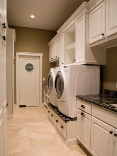 Laundry Room - For remodel. Love everything about this look. Marble granite perfect and the white cabinets - to die for! The knobs really bring everything together.