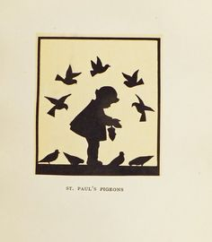 This cute 1920s silhouette print of a little girl feeding the St Pauls pigeons would look gorgeous in a nursery or playroom or any room in