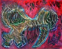 """""""Teschio felino"""" 2'013 Tecnica mista su cartoncino 38x48 ©Pietro Gargano"""