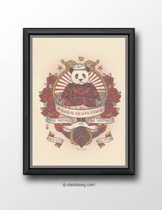 <b>PR029 - Panda Revolution XXIX  - King of the Sea</b>  Inspired by the tattoo of Norman Keith Collins ( better known as Sailor Jerry) and one of my favourite animation.  *Frame not included*  Size: <b>21cm x 29.7cm (A4) 250GSM Texture paper</b>  Print will be shipped in a cardboard tube a...