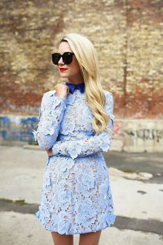 baby blue lace details
