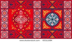 Egyptian Tent Fabric Pattern1-Red - stock photo