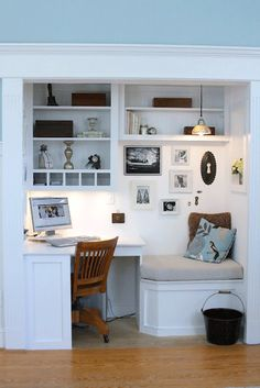 Cutest office nook! Just add a file drawer under the bench