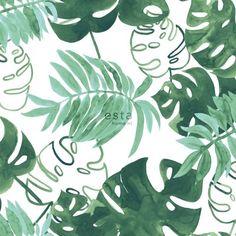 138886 HD vliesbehang geschilderde tropische jungle bladeren intens smaragd groen