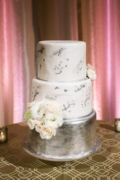 Silver cake: http://www.stylemepretty.com/california-weddings/san-francisco/2015/04/13/glamorous-blush-ballroom-wedding-in-san-francisco/   Photography: Jasmine Lee - http://jasmineleephotography.com/