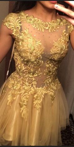 New Arrival Gold Tull and Lace Short Prom Dresses, Homecoming Dresses,Graduation Dresses