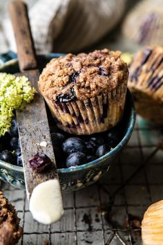 Cinnamon Crunch Blueberry Coffee Cake Muffins | halfbakedharvest.com #breakfast #brunch #snacks #easyrecipes #spring #summer #blueberrymuffins