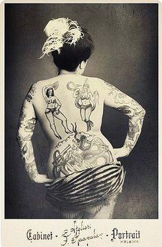 Vintage Photo - sisterwolf:    Tattooed lady Cabinet Card  via