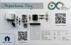 Build Arduino compatible board on piece of paper. Paperduino Tiny is very cheap and easy to build Arduino compatible board with USB and software compatible with. Electronics Projects, Electronics Gadgets, Electronics Storage, Electronics Accessories, Technology Gadgets, Microcontroller Board, Electronic Paper, Pi Projects, Engineering Projects