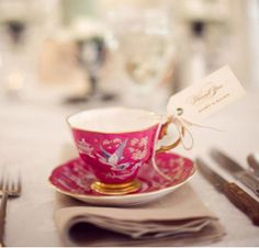 vintage / ornate teacups as party favours #favors. Should we try and look for these at fleemarkets