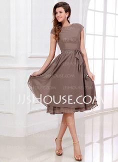 A-Line/Princess Scoop Neck Tea-Length Chiffon Charmeuse Bridesmaid Dresses With Sash (007017303)