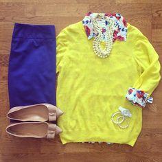 Blue Pencil Skirt, Floral Shirt, Yellow Sweater, J.Crew Emery Bow Flats, Pearl Necklace | #workwear #officestyle #liketkit | www.liketk.it/1ki6k | IG: @whitecoatwardrobe
