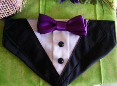 TUXEDO COLLAR Bandana Black with Purple Bow Tie by RuffusNRuffles