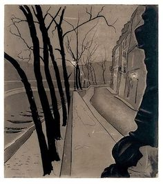 "theshipthatflew: Луи Каган (австралийский, 1905-2002), Иль Сент-Луис, 1946 / позже печать.  Акватинта, editioned ""Epreuve d'артист,"" отсюда, через яма-Бато"