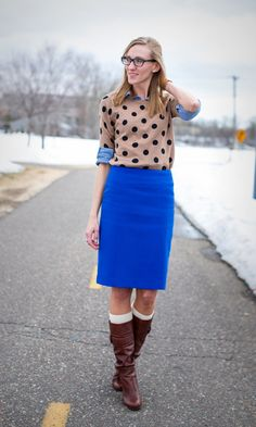 Bright blue pencil skirt and layers