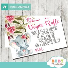 Printable Boho Floral Elephant Diaper Raffle Tickets for a girl baby shower. The elephant diaper raffle tickets feature an adorable baby girl elephant wearing a floral pink bow against a white backdrop decorated with a beautiful watercolor bohemian floral arrangement in pink accents against a fine sprinkle of faux gold glitter. #babyshower #babyshowerinvitations #babyshowerideas #babyshowerpartyideas