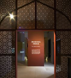Exhibition at the British Library exploring the inner workings of the Mughal Empire. Featuring unique books and artefacts from the rule of the Mughal emperors from the 16th to the 19th centuries.  Entrance Jali A screen made up of different Jali patterns frames a totem which carries the title and introduction