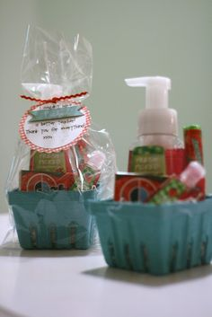 A Little Bit Biased: strawberry theme gift basket -  so cute with the strawberry container