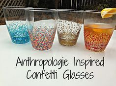 Anthropologie Inspired Confetti Glasses - I fell in love with these glasses at Anthropolgie. They are colorful, fun and a great size. But $30? Paaalease. I don'…