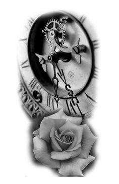 Rose Drawing Tattoo, Tattoo Sketches, Tattoo Drawings, Clock And Rose Tattoo, Clock Tattoo Sleeve, Rose Tattoos, Leg Tattoos, Sleeve Tattoos, Armband Tattoo Design