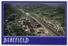Bluefield WV Town Aerial View Railroad Depot Postcard