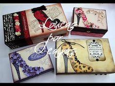 Passo a passo caixa sapato fundo animal print - com carimbos Loucas por caixas - YouTube