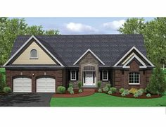 Ranch House Plan with 1796 Square Feet and 3 Bedrooms from Dream Home Source | House Plan Code DHSW75221