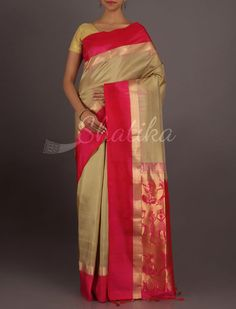 Kanchana Molten Gold Figurine Ornate Pallu Pure #PattuSilkSaree