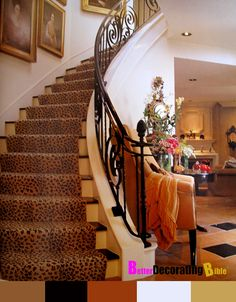 leopard carpet runner on the stairs is so fun! Leopard Carpet, Leopard Spots, Staircase Runner, Stair Runners, Staircase Ideas, Hallway Ideas, Stairway To Heaven, My Dream Home, Stairways