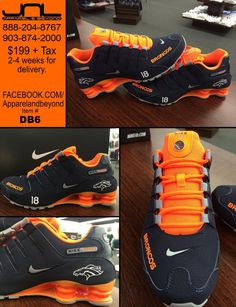 Size 7 and pretty please .Custom Denver Broncos Nike Shox - Source for Custom Shoes - JNL Apparel - or Denver Broncos Shoes, Denver Broncos Peyton Manning, But Football, Denver Broncos Baby, Broncos Gear, Denver Broncos Football, Go Broncos, Broncos Fans, Football Baby