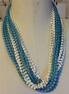"""2 Vintage Plastic Celluloid Baby Blues & White Necklaces with 7 Strands of Beads 56"""" Long by NativeBliss on Etsy"""