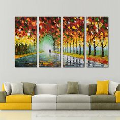 DESIGN ART Hand-painted Walk with Me Through The Forest Arc - - Multipanel Oil Painting x 28 - 4 Panels), Blue, Size 48 in. wide x 28 in. 3 Canvas Paintings, Multiple Canvas Paintings, Hand Painting Art, Large Painting, Oil Painting On Canvas, Painting Classes, Abstract Canvas, Canvas Wall Art, Pallet Art