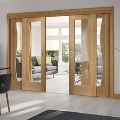 Easi-Slide OP1 Oak Emilia Sliding Door System with Clear Glass in Three Size Widths. #oakdoors #roomdividers #designerslidingdoors