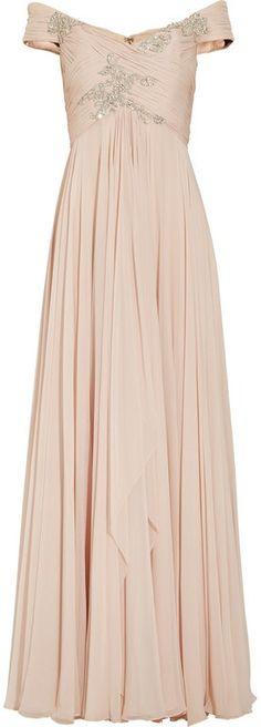 Wedding Ideas: marchesa-offtheshoulder-embellished-silkchiffon-gown-blush