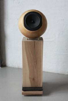 DIY speakers made from wood bowls and custom solid oak stands.