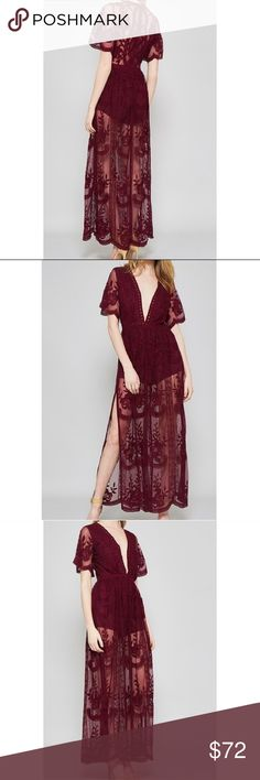 Burgundy lace romper dress Brand new never worn . Dresses Maxi