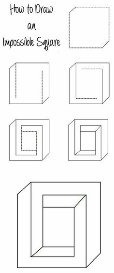How to Draw an Impossible Square Illusion – www.c… How to Draw an Impossible Square Illusion – www. Illusion Kunst, Illusion Drawings, Optical Illusions Drawings, Art Optical, Optical Illusion Art, How To Draw Illusions, Illusions Mind, Amazing Optical Illusions, Cool Art Drawings