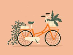 Bicycle by Charly Clements - Dribbble illustration Bicycle Bicycle Illustration, Digital Illustration, Cycle Drawing, Illustration Inspiration, Bicycle Art, Bicycle Design, Bicycle Helmet, Cycling Art, Cycling Quotes