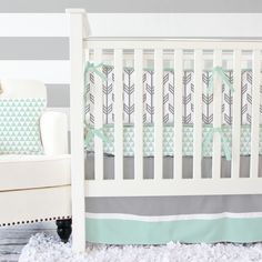 The perfect soothing shade of mint with a gender neutral arrow pattern - a perfect pairing for a modern nursery!