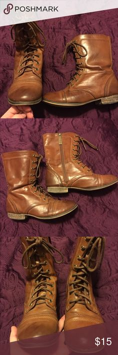 Brown lace up combat boots Leather like brown combat boots. Some wear, mainly on the back of the heels as shown in the third pic! Make me an offer! Breckelles Shoes Combat & Moto Boots