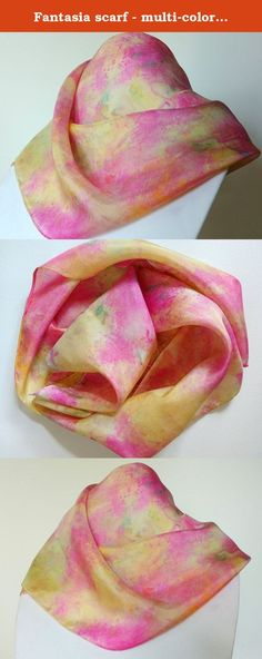 "Fantasia scarf - multi-colored pink, yellow, gold, green, silk scarf, Silk Hand Painted Scarf, Handmade Scarf, Silk Scarves for Women, Sashes for Women, Belts for Women. This is a beautiful one-of-a-kind scarf reflecting shades of pink, yellow, gold and green and orange. It is hand painted in an abstract garden pattern on 100% silk. A lovely mix of colors to brighten any outfit! Fabric: 100% silk with hand rolled hem. Width: 8"" Length: 52"" Hand wash, hang to dry, press lightly on low..."