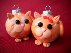 Pair of Cats Christmas Ornaments by Sleepydenas on Etsy, $8.00