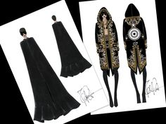 Right off the desk of Riccardo Tisci from Givenchy are some sketches of costumes they have created for Rihanna's Diamonds World tour. These costumes are a perfect match for the singers edgy style.