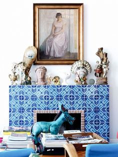 La Minervetta Blue Tile Fireplace