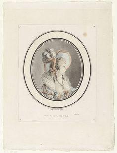 Jean-Augustin Léveillé | Buste van een dame met hoed, Jean-Augustin Léveillé, 1776 - 1802 | Buste van een vrouw, en profil naar rechts, met een grote hoed versierd met veren. In een ovale omlijsting.