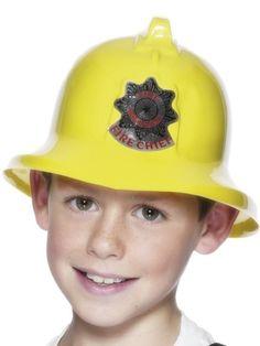 Girls Boys Kids Yellow Firefighter Fireman Hero Helmet Fancy Dress Accessory Hat