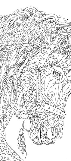 Horse Coloring Book 44 Page For Download Printable Adult Clip Art Hand Drawn Original Zentangle Colouring Doodle Picture